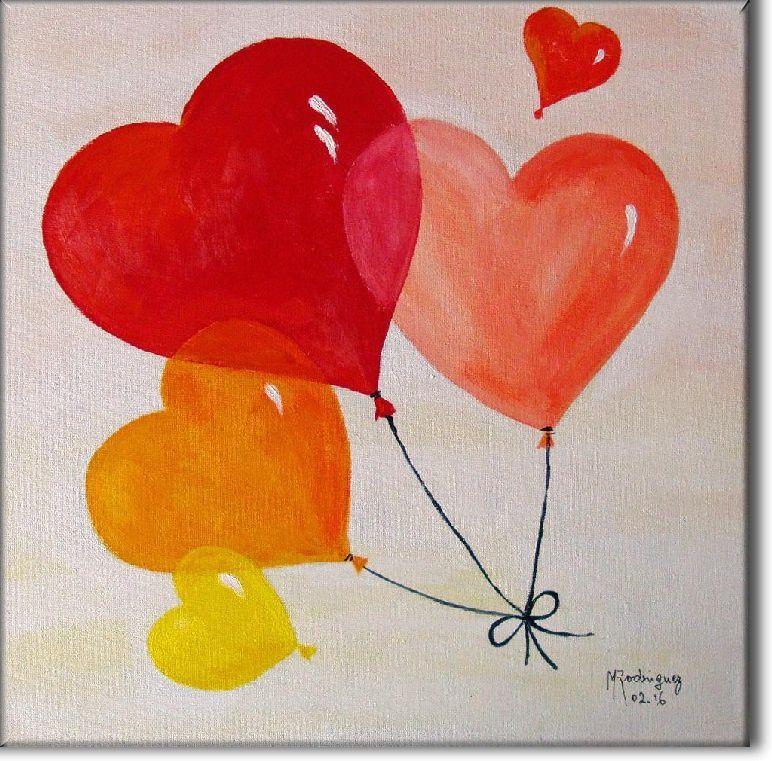 ballons coeur du jaune au rouge_Maggy_acryique