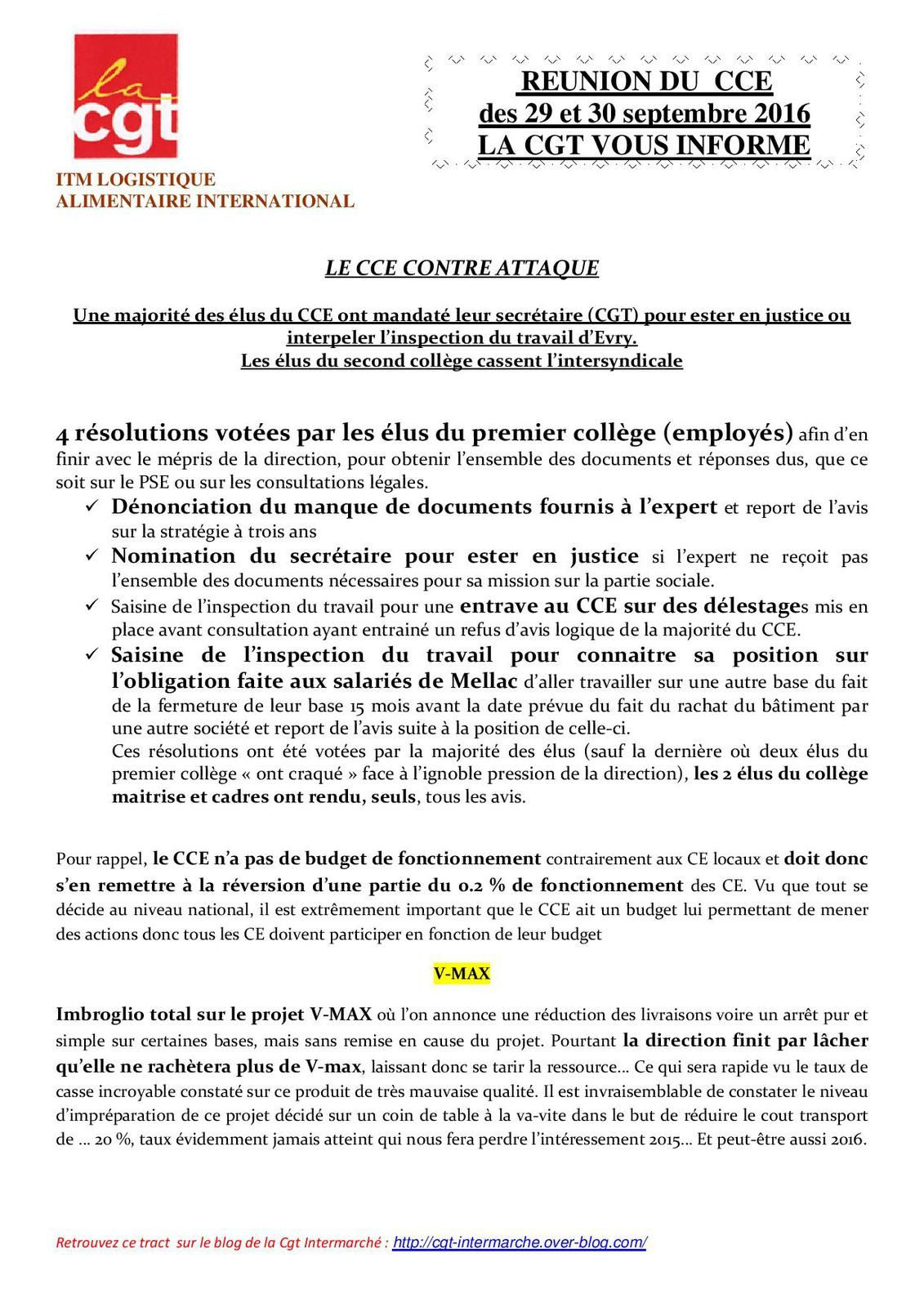 CCE ITMLAI, CGT, INTERMARCHE, BASES LOGISTIQUES