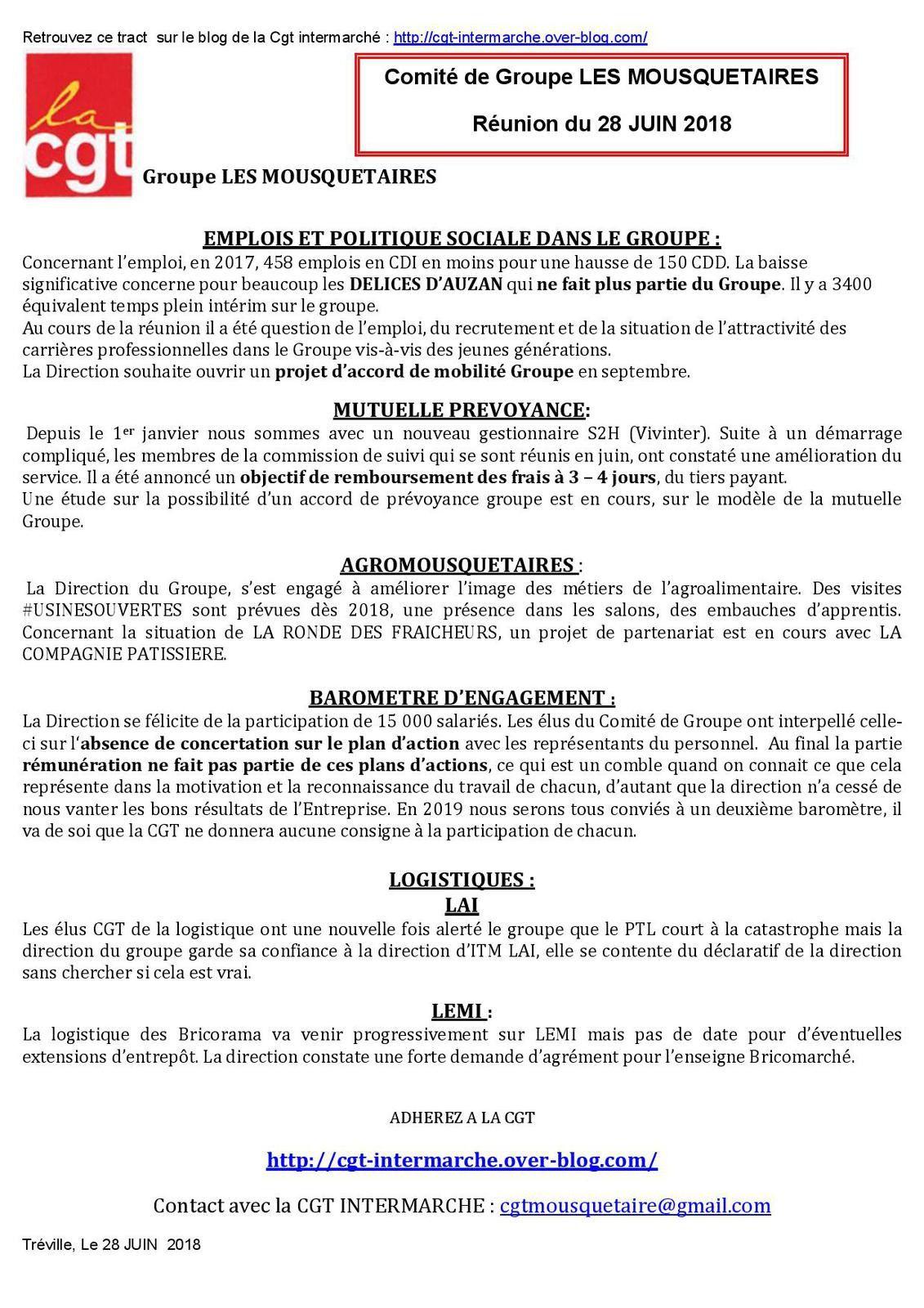 #CGT #COMITE DE GROUPE  #LES MOUSQUETAIRES