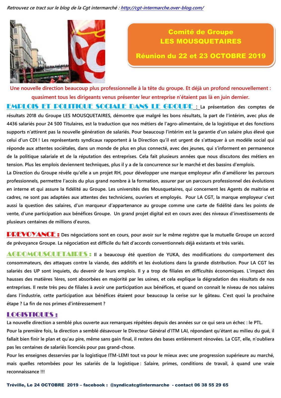 Information Comité de Groupe LES MOUSQUETAIRES