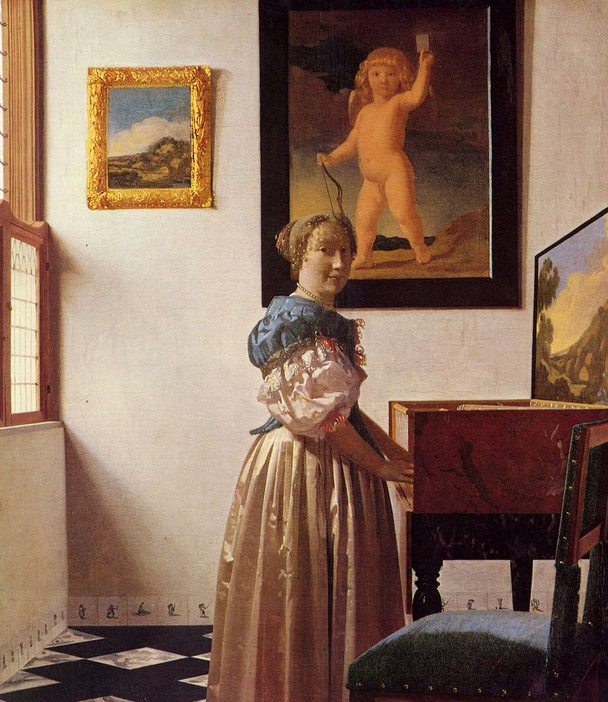 Johannes Vermeer : Jeune Fille devant un Virginal, 1670, 51,7 X 45,2. National Gallery, Londres.