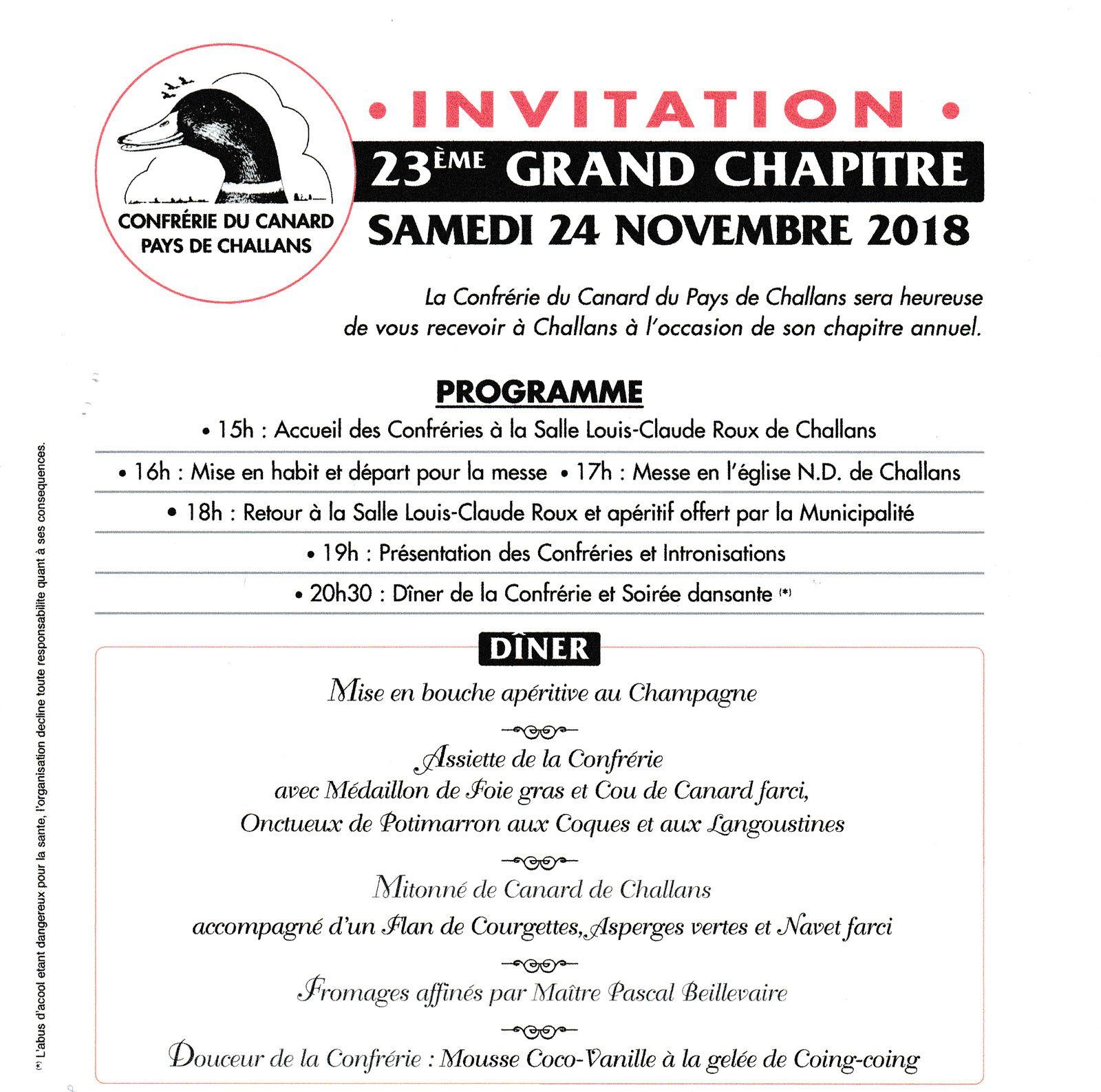 Confrérie du canard Pays de Challans. Samedi 24 novembre 2018.