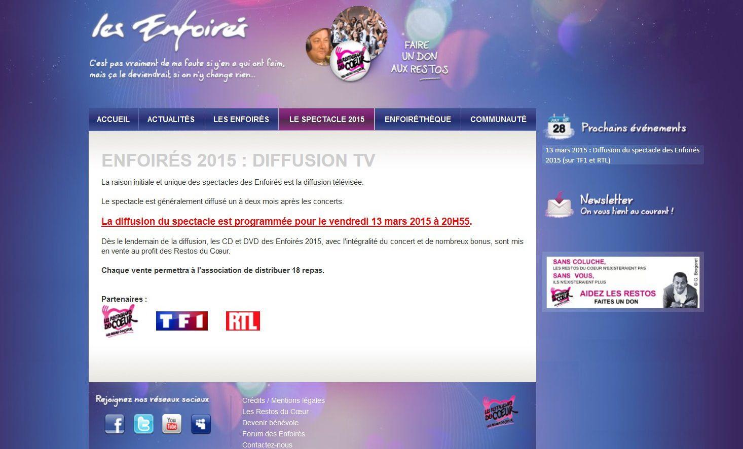 Les Enfoirés 2015 à la télé : ce sera le vendredi 13 Mars