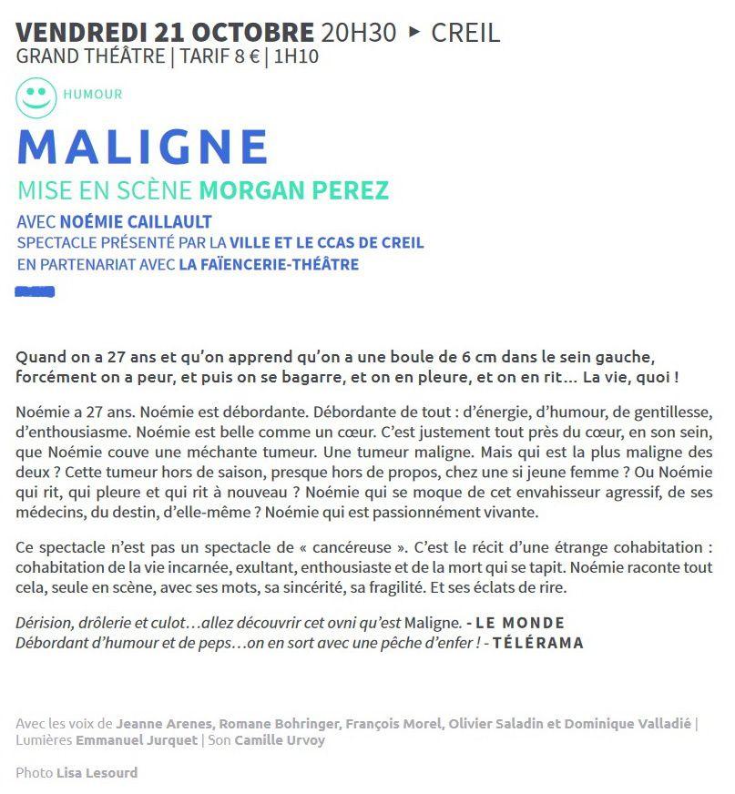 Maligne - Noémie Caillault à La Faïencerie-Théâtre à Creil Vendredi 21 Octobre