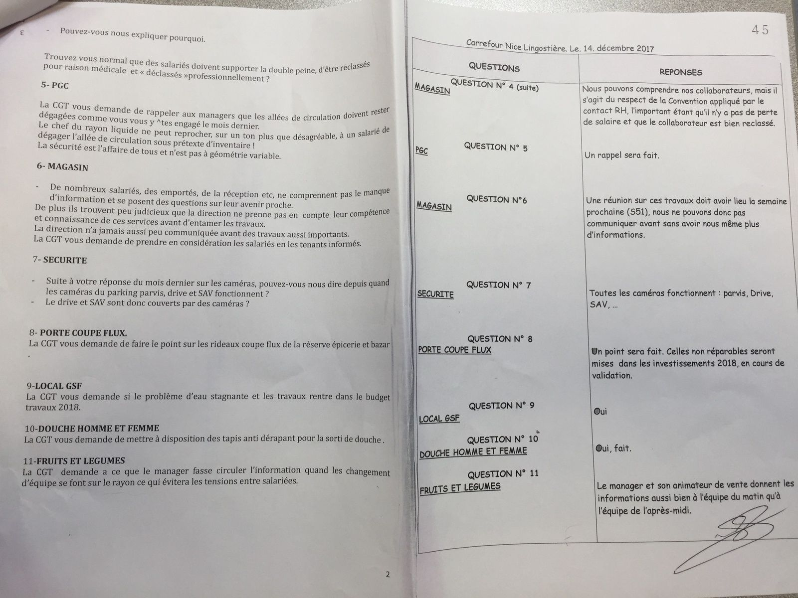 Questions CGT reponse Direction Carrefour