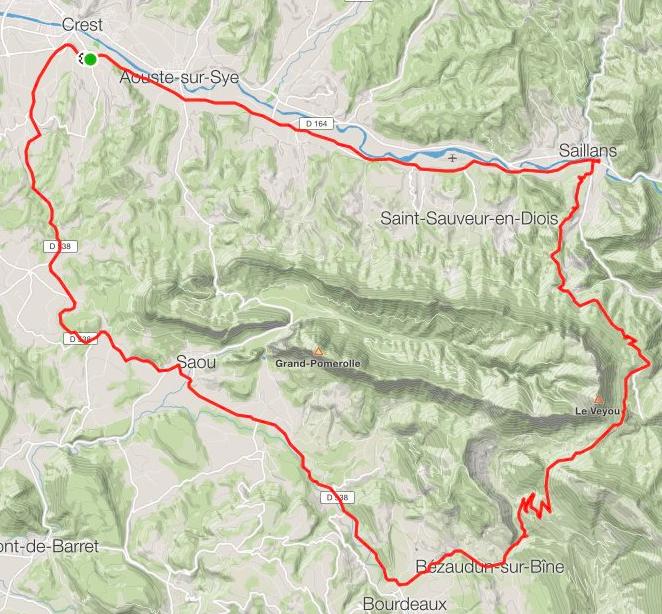 Où l'on voit bien le synclinal perché de Saou. Le col de la Chaudière est approximativement sous le sommet du Veyou, son point culminant (1589m). Temps de grimpée (de Saillans au col) : 57'50.