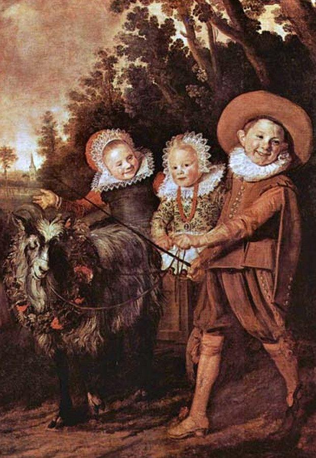 Frans Hals (1580-1866) Enfants jouant avec un char à chèvres.