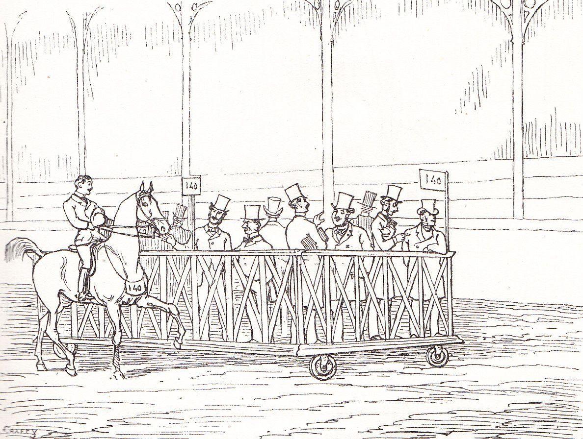 La tribune volante du jury au concours hippique (dessin de Crafty)