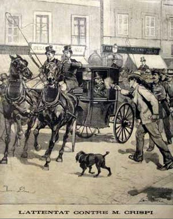 Rome, 16 juin 1894. Attentat contre Francesco Crespi, président du Conseil italien.