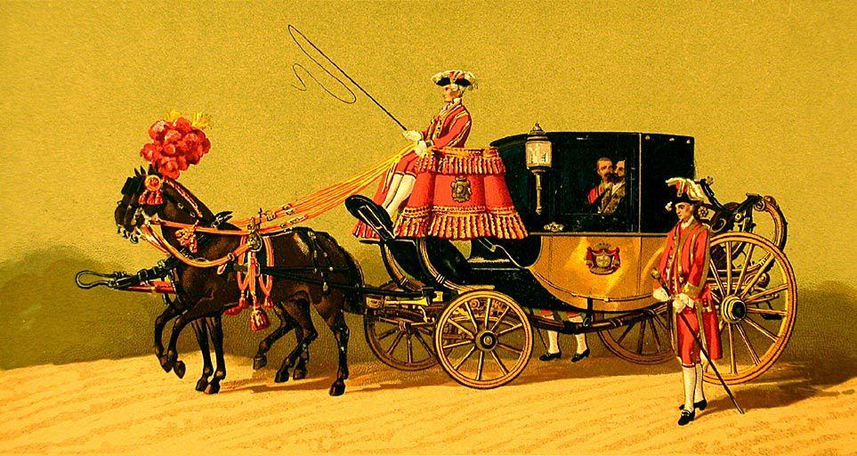 .V. Sabater : Cortège du mariage du roi d'Espagne Alphonse XII avec l'Archiduchesse Marie Christine d'Autriche le  29 novembre 1879, détail : Coupé du Président du Conseil des ministres et du ministre de la guerre.
