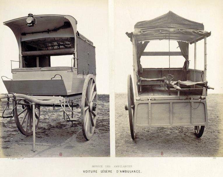 Les différentes ambulances militaires hippomobiles.