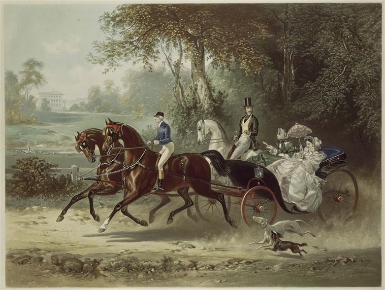Attelage en demi-d'Aumont. « La promenade », estampe d'Eugène Guérard (1821-1866)