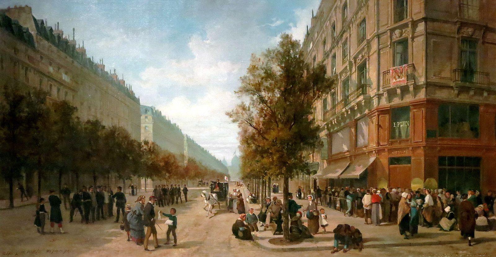 Paris, novembre 1870,  par Jacques Guiaud (Musée Carnavalet). En premier plan, queue devant le magasin Felix Potin du Bl Sebastopol.