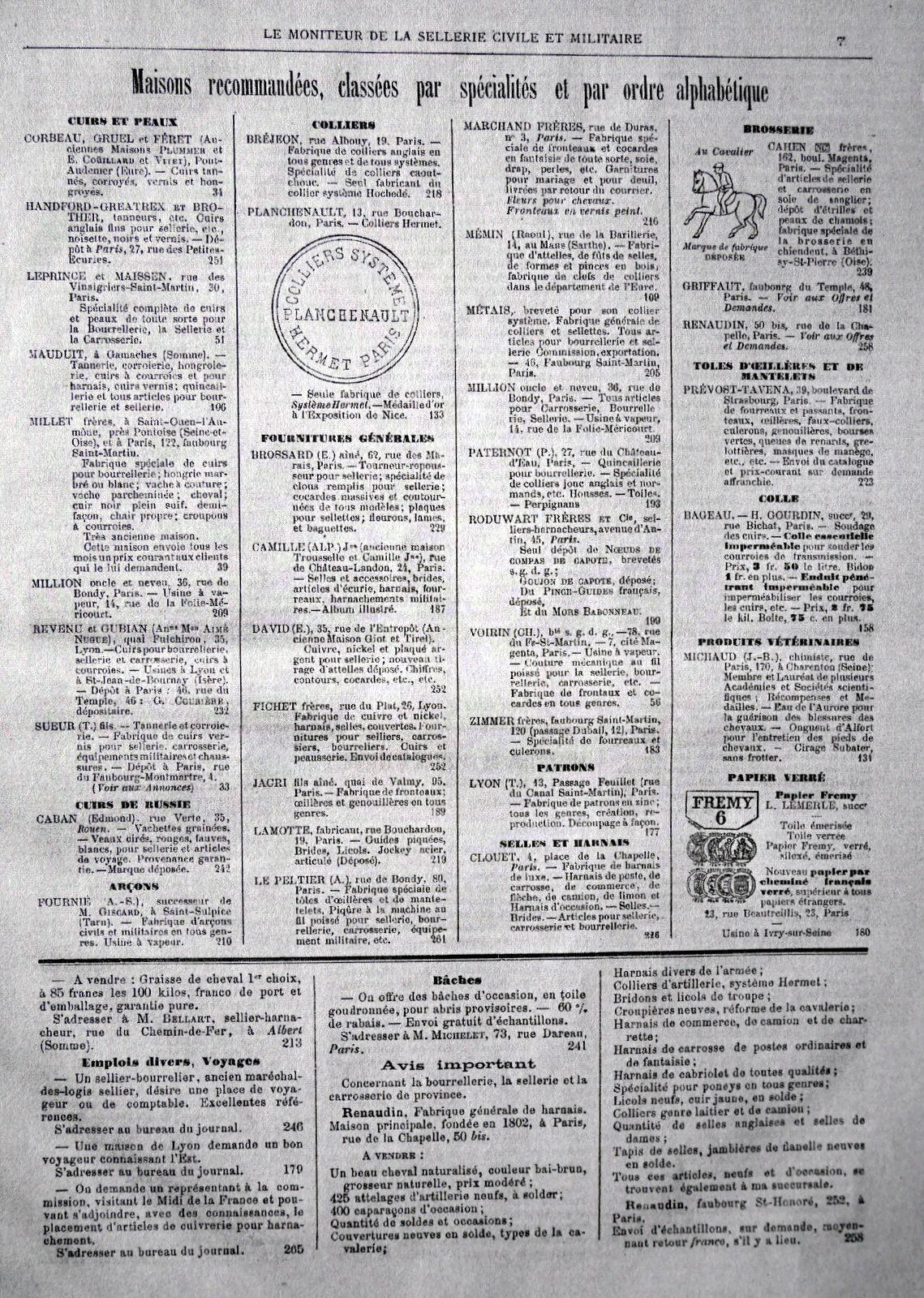 """""""Le moniteur de la sellerie civile et militaire""""  1889"""