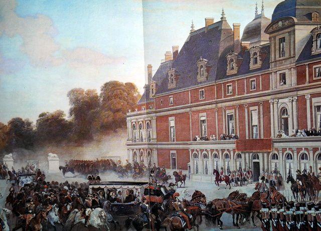 Accueil de la reine Victoria, en voiture de grand apparat, au château d'Eu par Louis Philippe (tableau de Lami)