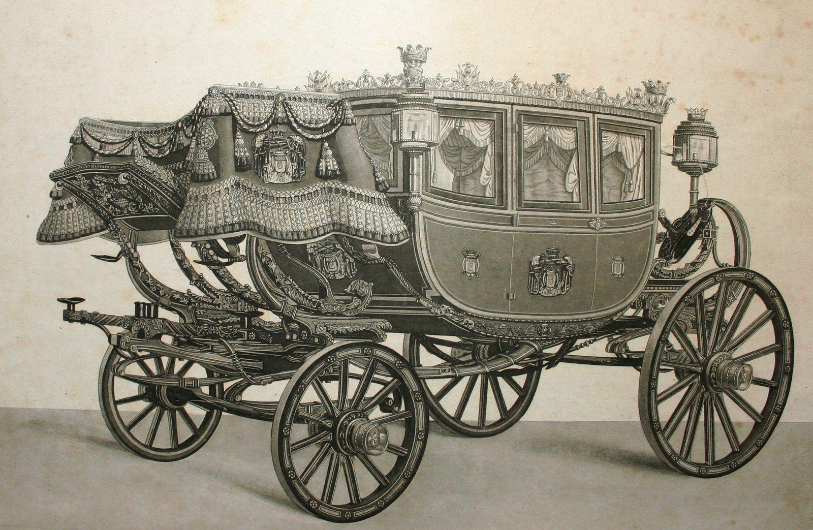 Berline de gala de Daldringen et Mathey utilisée à Londres en 1838 par le Maréchal Soult pour le couronnement de la reine Victoria (héliogravure, Faverot de Kerbrecht, L'Art de conduire et d'atteler, 1903)