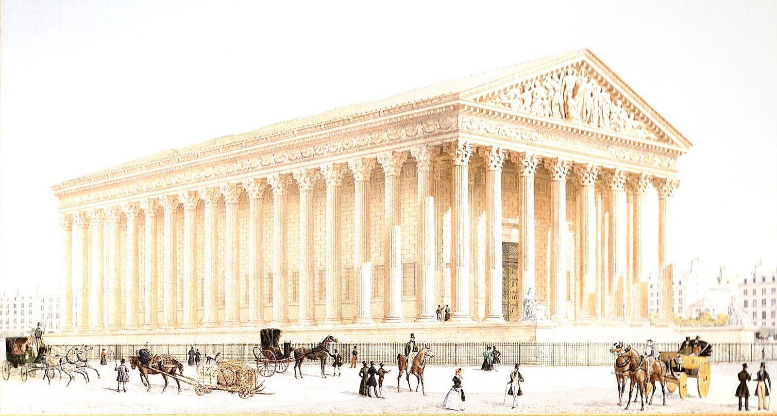 Eglise de la Madeleine (aquarelle de Félix Duban, Vues de quelques monuments de Paris achevés sous le règne de Louis Philippe 1er, Paris, 1837).
