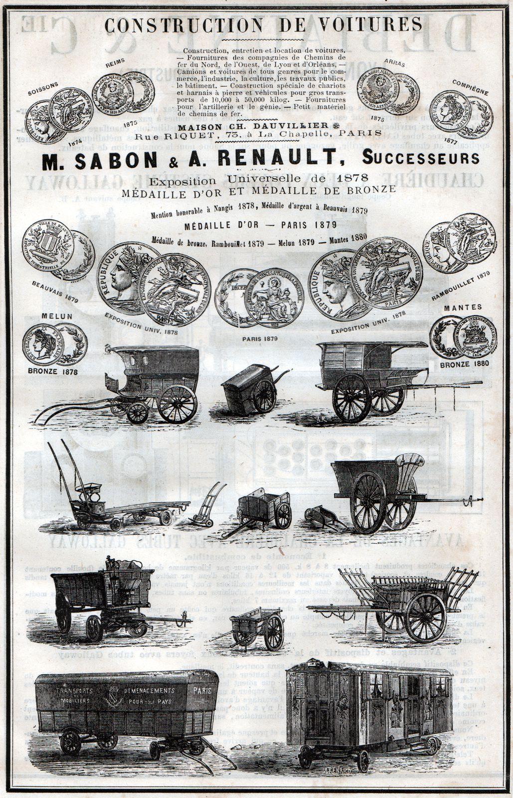 Encart publicitaire de la maison de gros charronnage Sabon –Renault à Paris, vers 1885-1890.