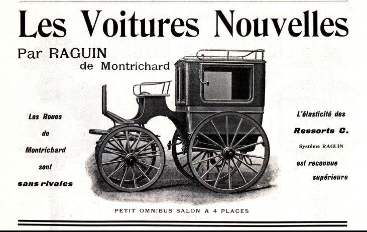 """Publicité du carrossier Raguin pour son omnibus-salon (""""La Carrosserie Française"""", 15 mars 1908)"""