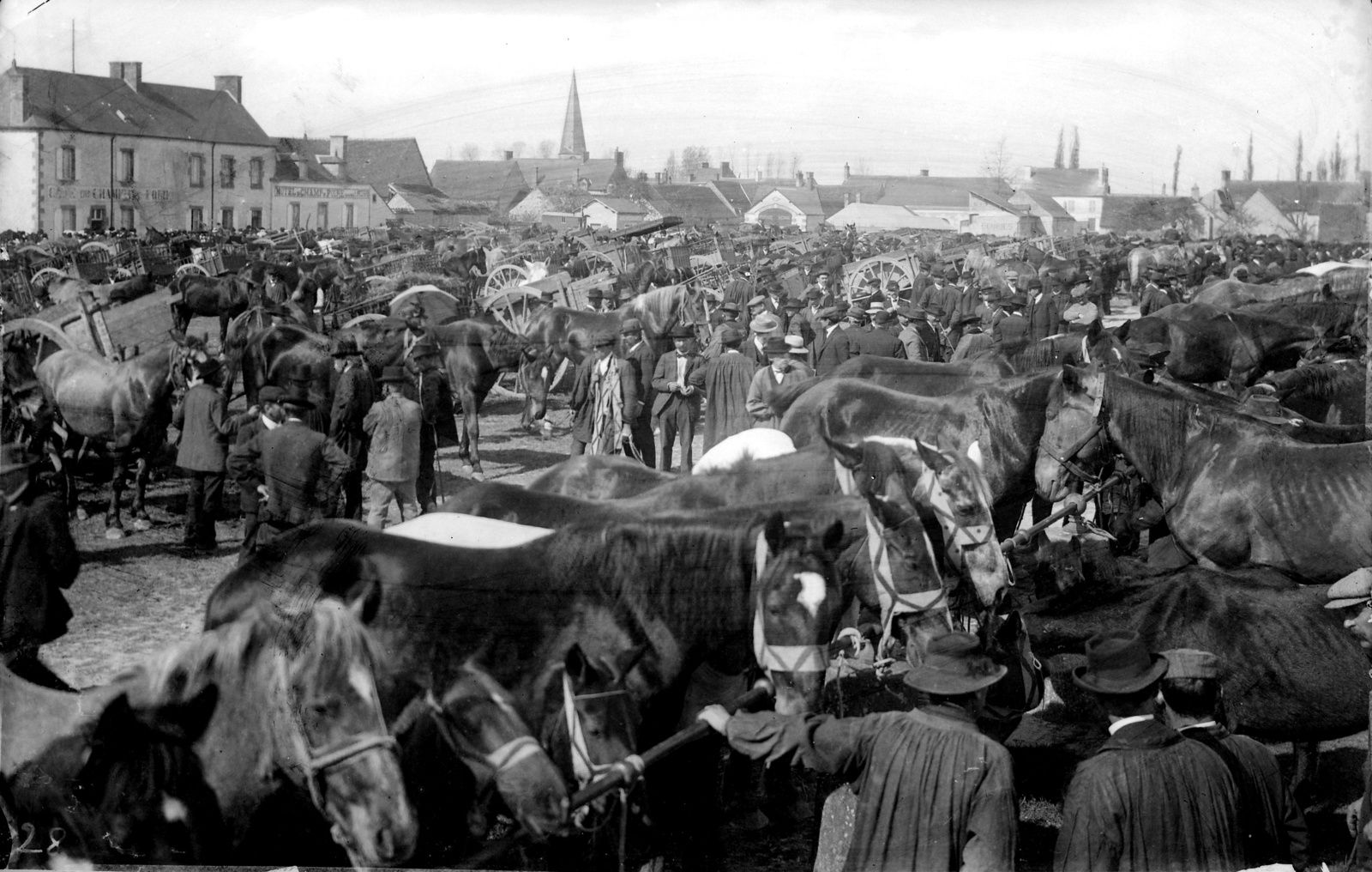 Ambiance de foire vers 1905-1910 à Baugy, modeste chef-lieu de canton du Cher. Il s'y déroule 7 fois par an. Celles de la Saint Marc (25 avril) et de la Saint Clément (23 novembre) comptent parmi les plus grandes de France. La première est réputée pour les chevaux de gros trait et de trait léger de 3 à 8 ans dont le premier choix part vers Paris. La seconde est consacrée aux poulains.