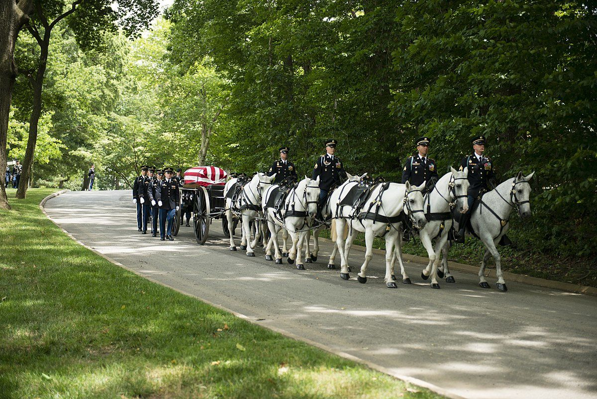 The Old Guard, chevaux et caissons au cimetière d'Arlington en Virginie, Etats-Unis.