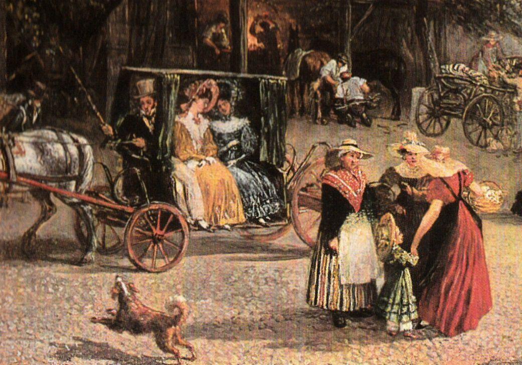 14. Unilatérale. Détail d'une peinture de Jean-Jacques Chalon réalisée vers 1830 (Genève, Musée d'Art et d'Histoire)