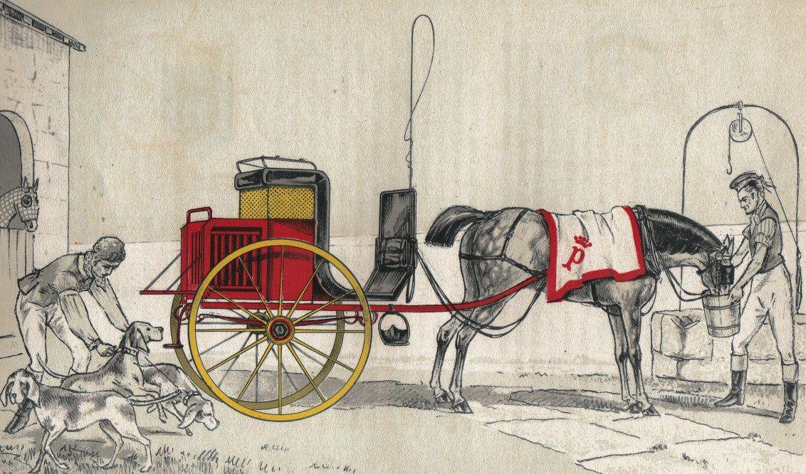 Dog-cart à deux roues, lithographie de L. Caplain d'après une peinture d'Henri de Montpezat