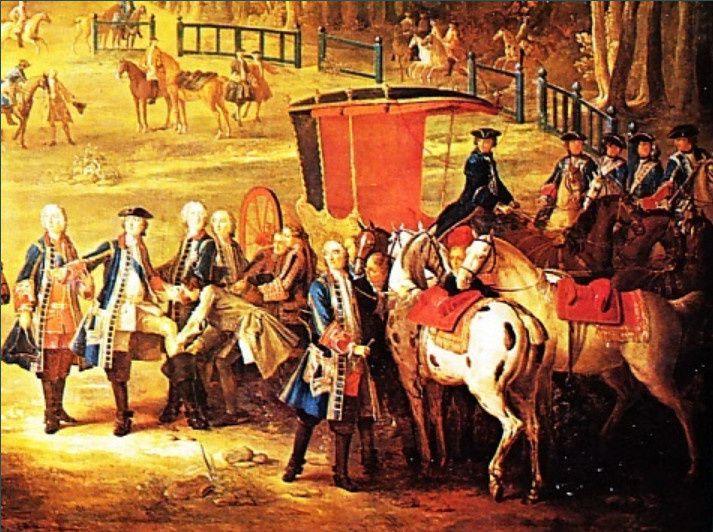 Jean-Baptiste Oudry : Les chasses de Louis XV. Le rendez-vous au carrefour du Puits du Roi en forêt de Compiègne, détail, 1735 (Musée national du château de Fontainebleau)