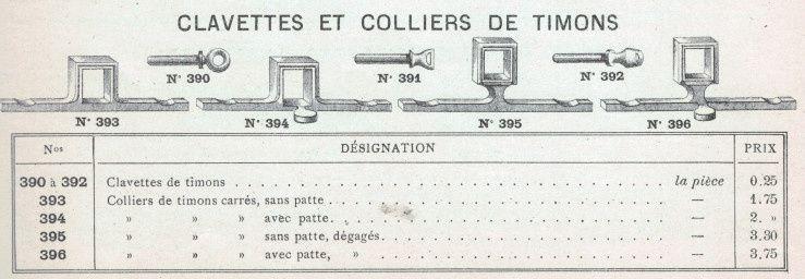 Colliers de volée et clavettes. Catalogue Nozal 1903
