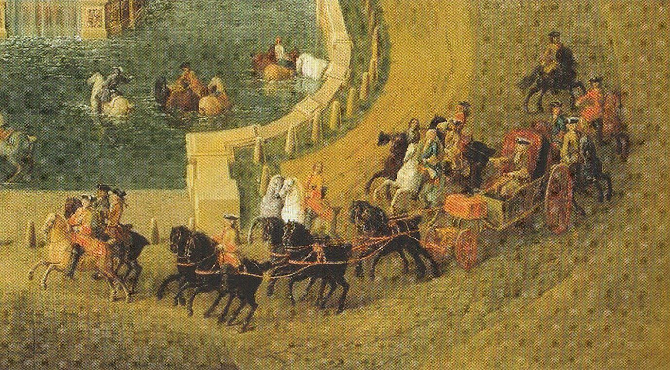 Le jeune Louis XV conduisant une calèche. Pierre-Denis Martin le Jeune : Vue générale du château et des jardins de Marly, 1724, détail (château de Versailles et de Trianon)