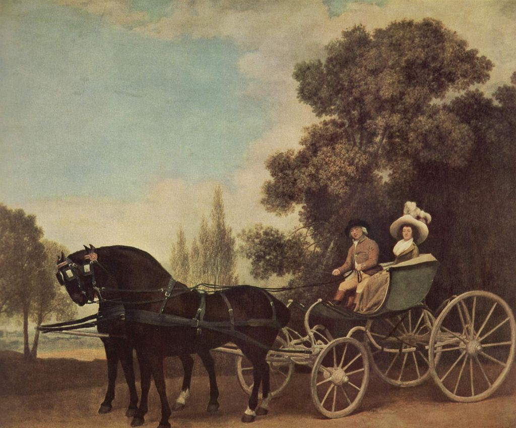 George Stubbs : Lady and Gentleman in a Phaeton, 1787 (Londres, The National Gallery)