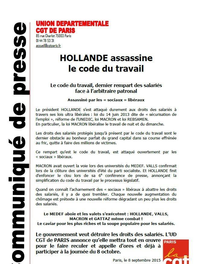 CGT, UD 75 : Hollande assassine le code du travail