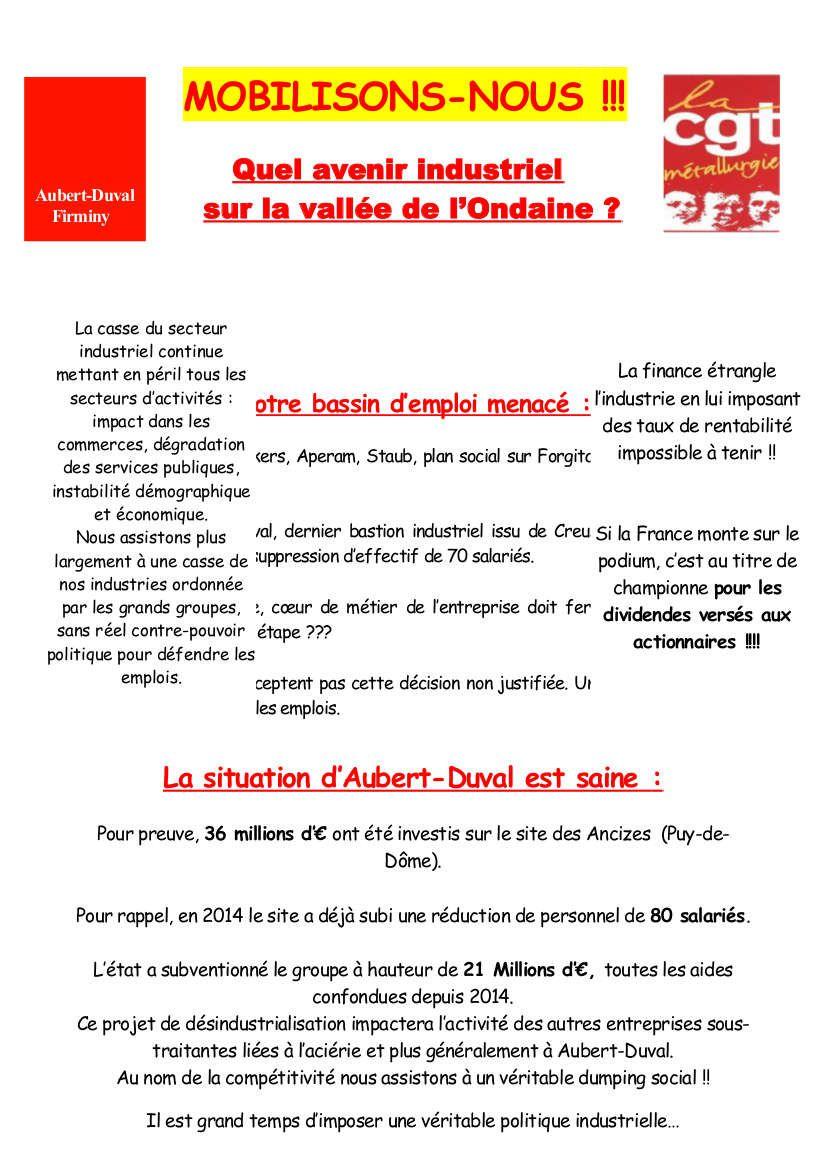 Firminy : la lutte chez Aubert et duval continue : manifestation le 10 novembre!