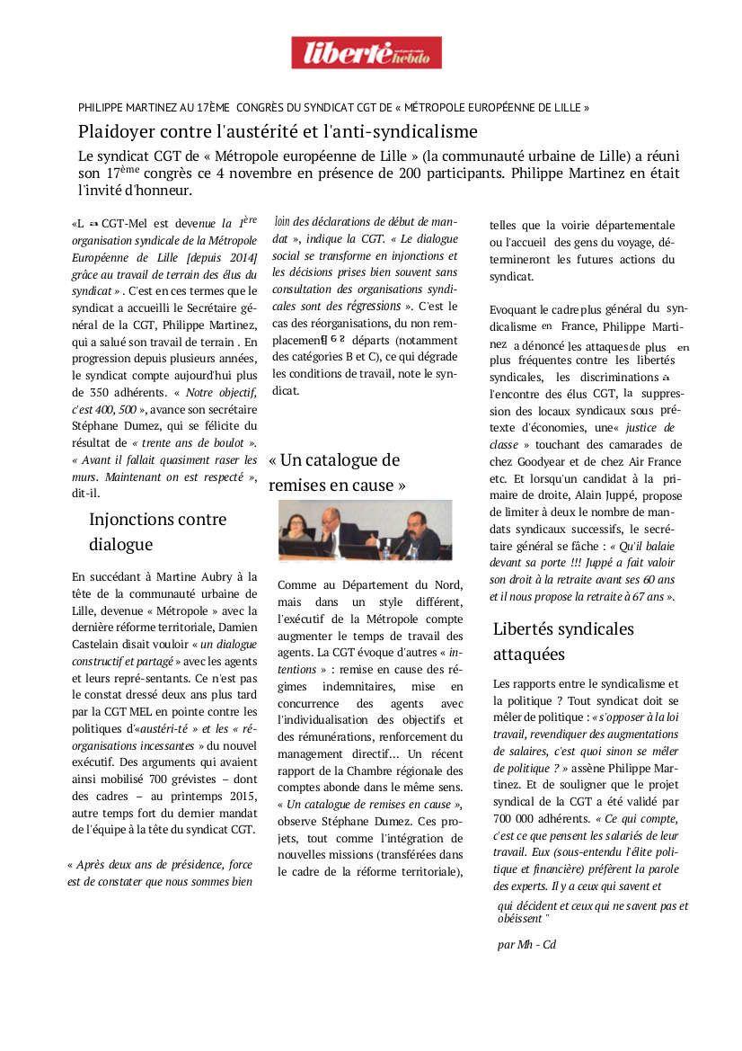 La CGT en Métropole lilloise : un dialogue social bidon pour faire passer l'austérité!