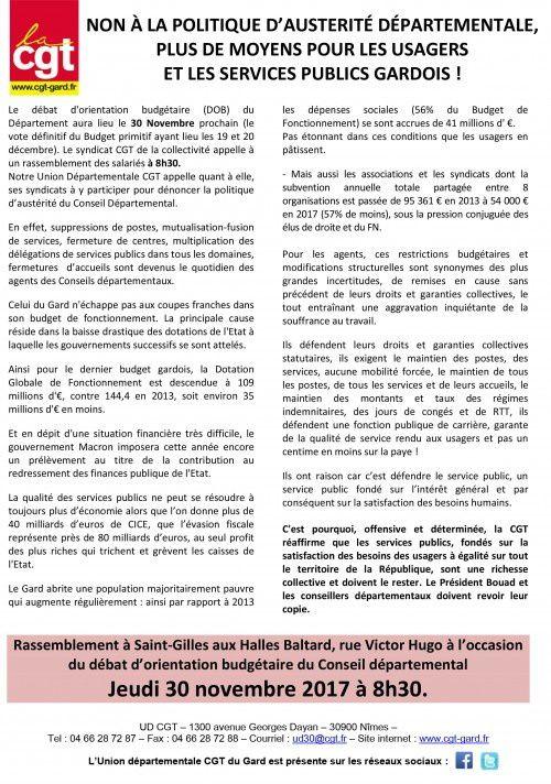 La CGT du Gard dans l'action le 30 novembre !
