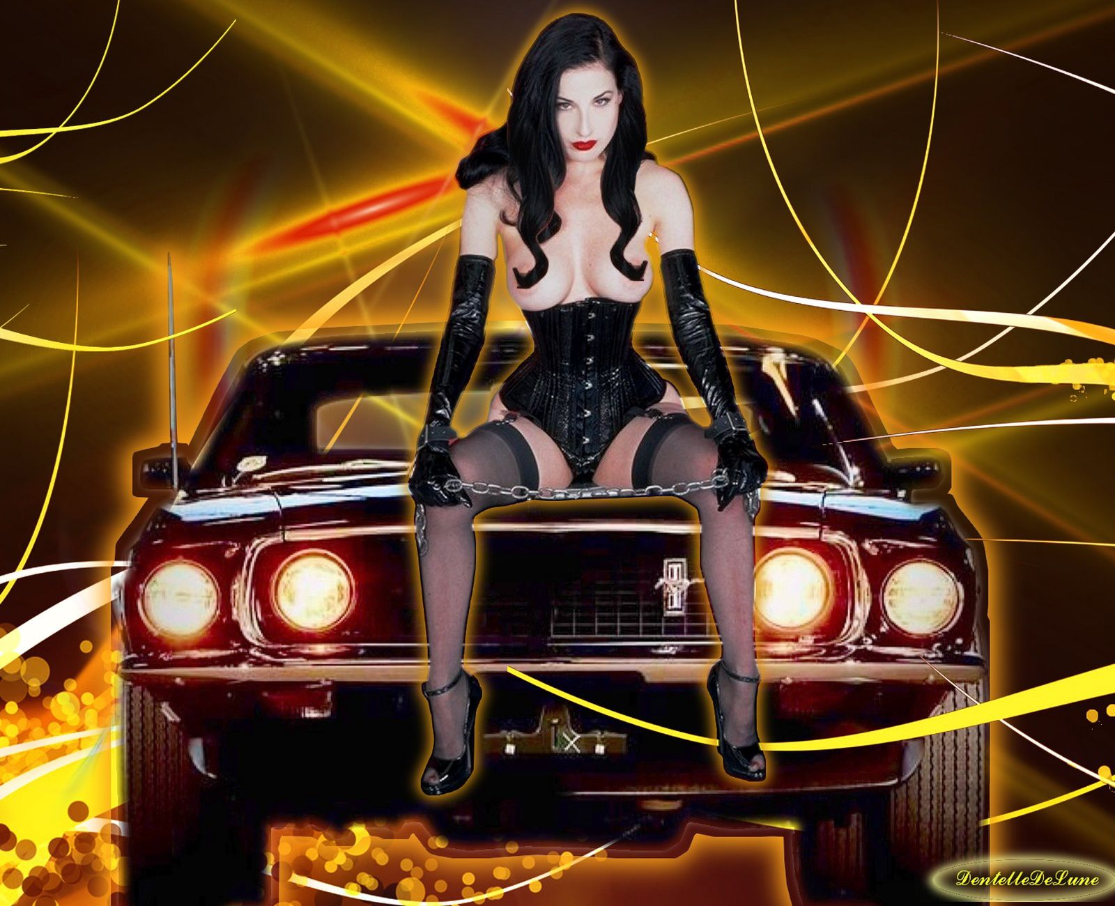 image-fond-d'écran-dita-von-teese-assise-sur-ford-mustang-1