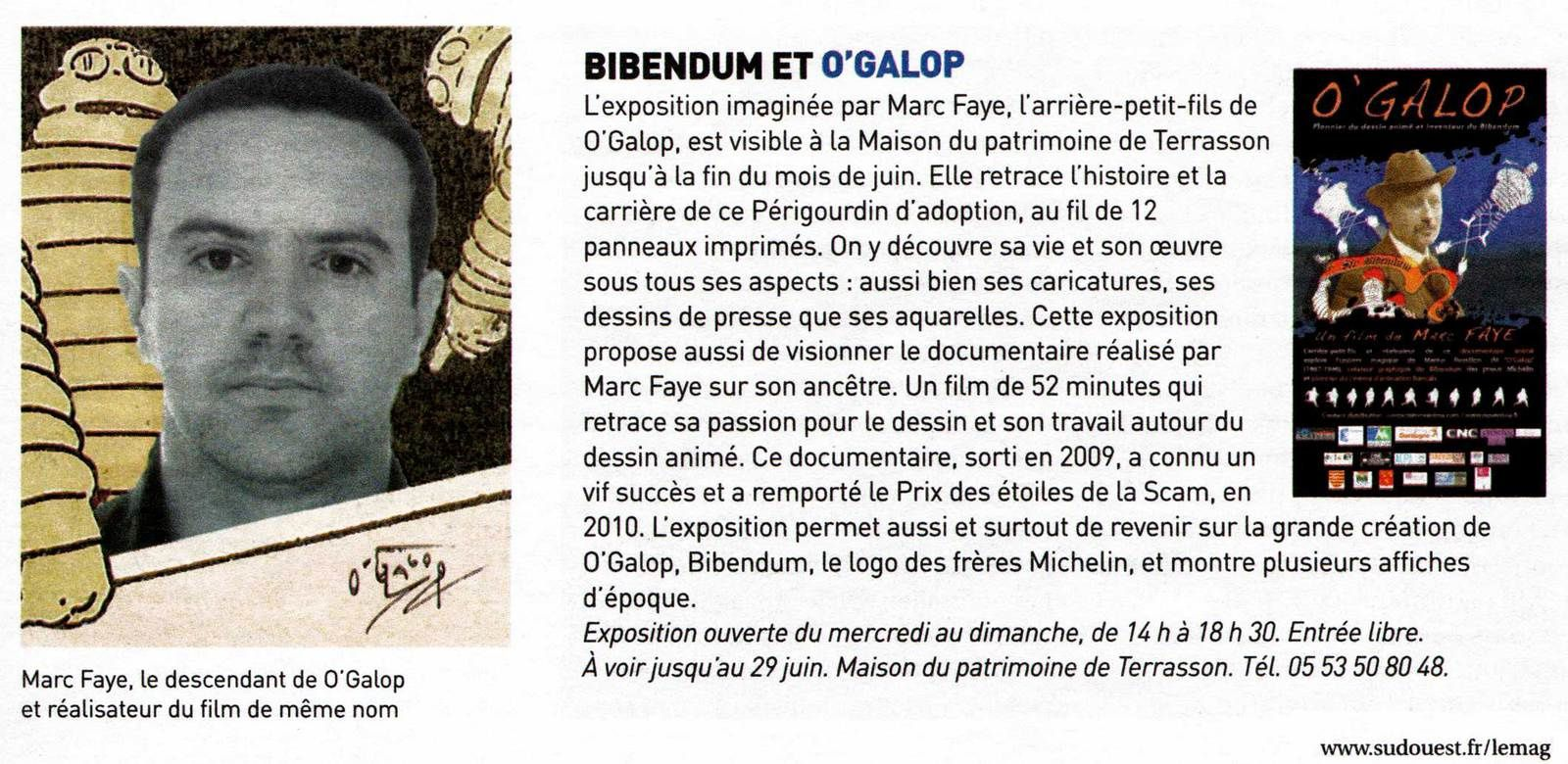 ''O'GALOP, DE L'ILLUSTRATION AU CINEMA D'ANIMATION'' : exposition à Terrasson Lavilledieu (Dordogne)