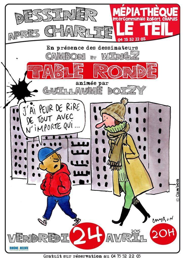 """""""Dessiner après Charlie"""", table ronde avec les dessinateurs Cambon et Wingz, animée par G. Doizy"""