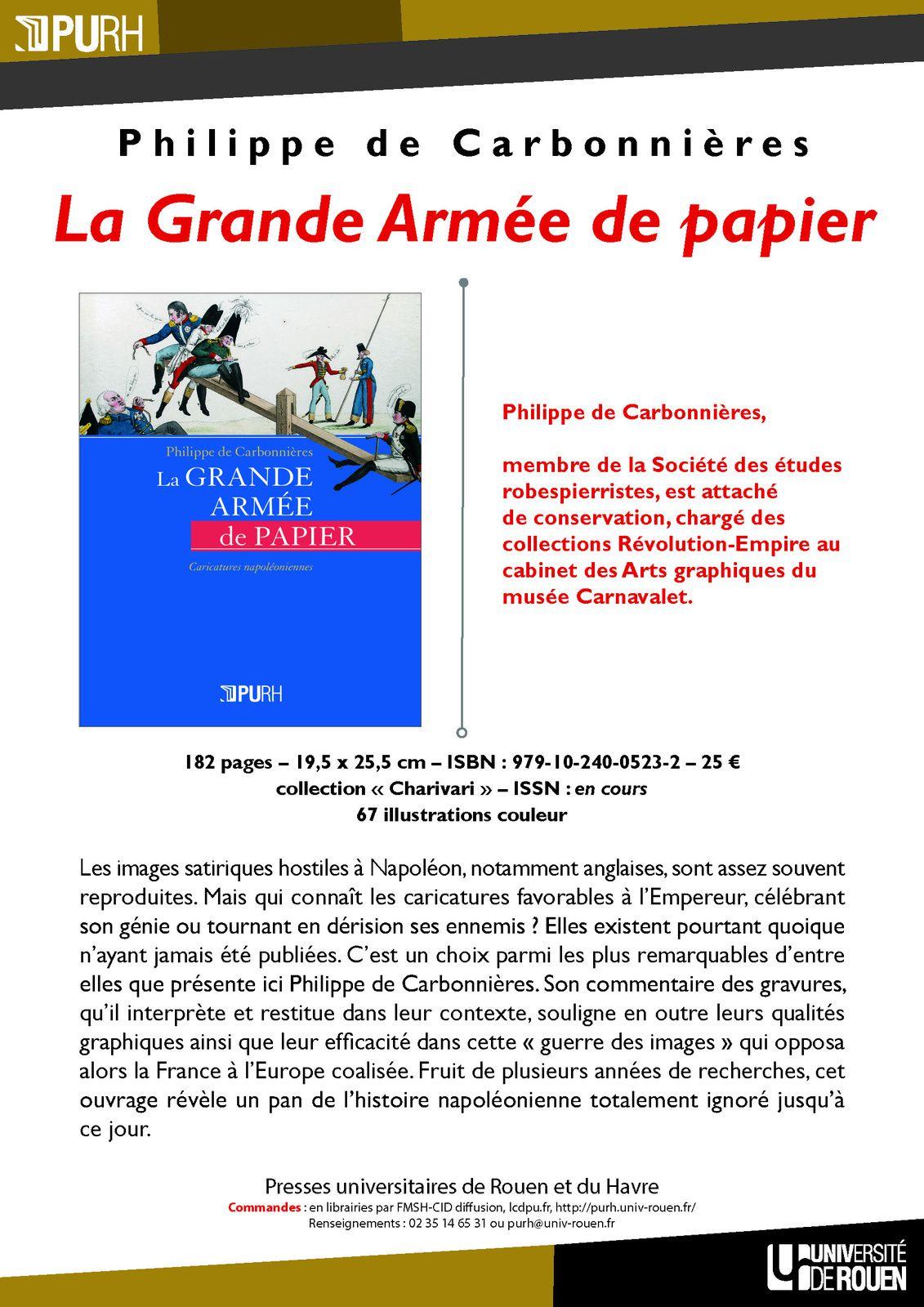 """Philippe de Carbonnières, """"La Grande Armée de papier"""" : les images satiriques favorables à Napoléon Ier"""
