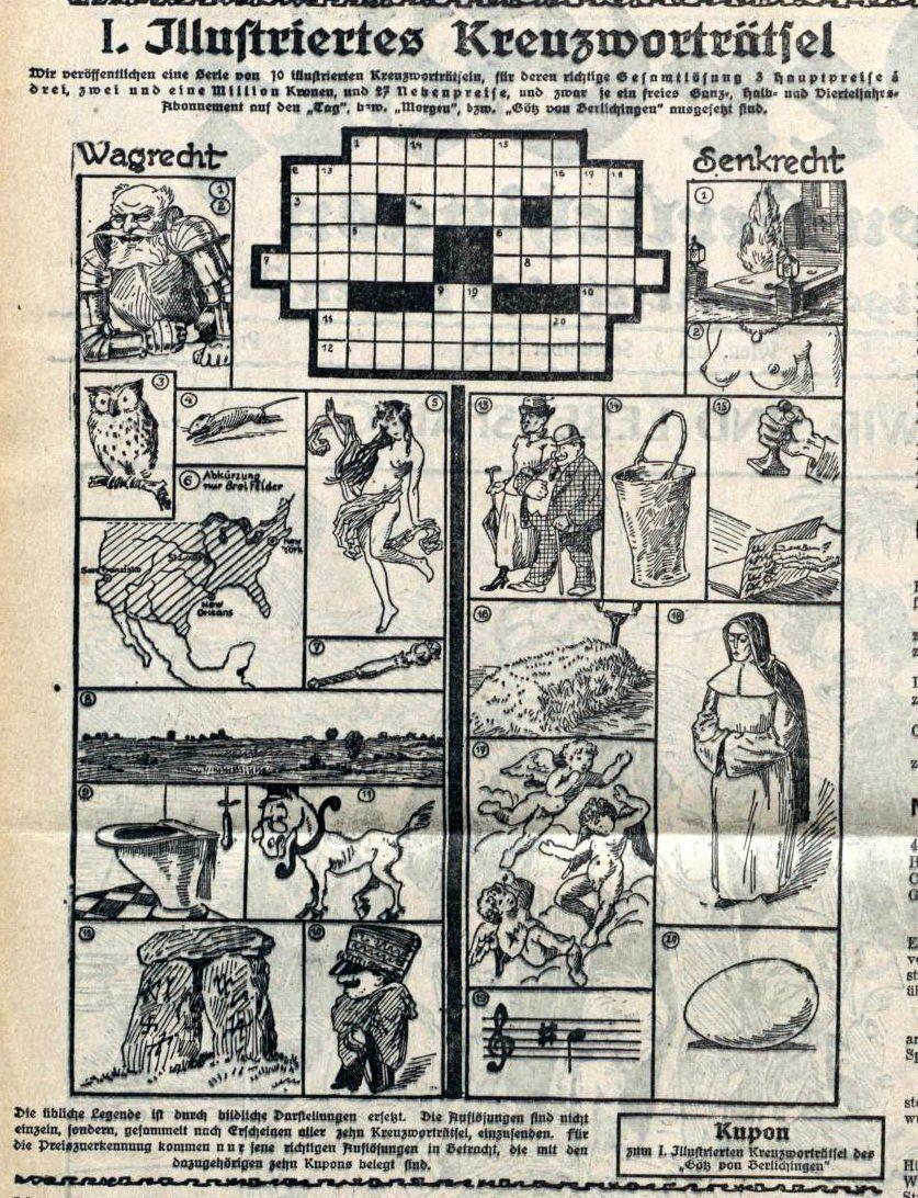 Des mots croisés en dessins dans le journal satirique autrichien Der Götz von Berlichingen  (rubrique à brac de Daniel Dugne)