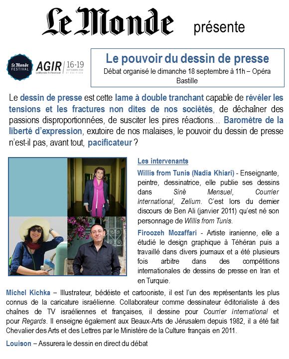 Le pouvoir du dessin de presse (18 septembre à Paris) : Plantu, Willis from Tunis, Kichka, Mozaffari...