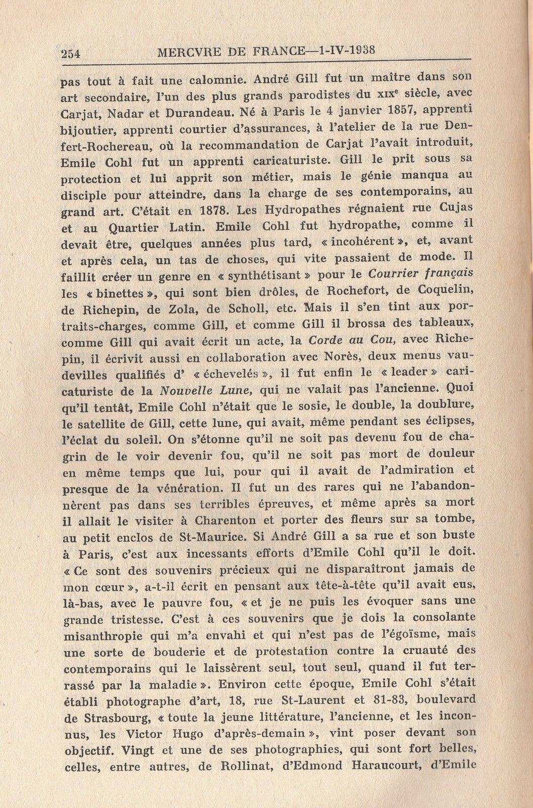 """Archive : """"Un ami d'André Gill : Emile Cohl"""", Mercure de France, 1er avril 1938"""