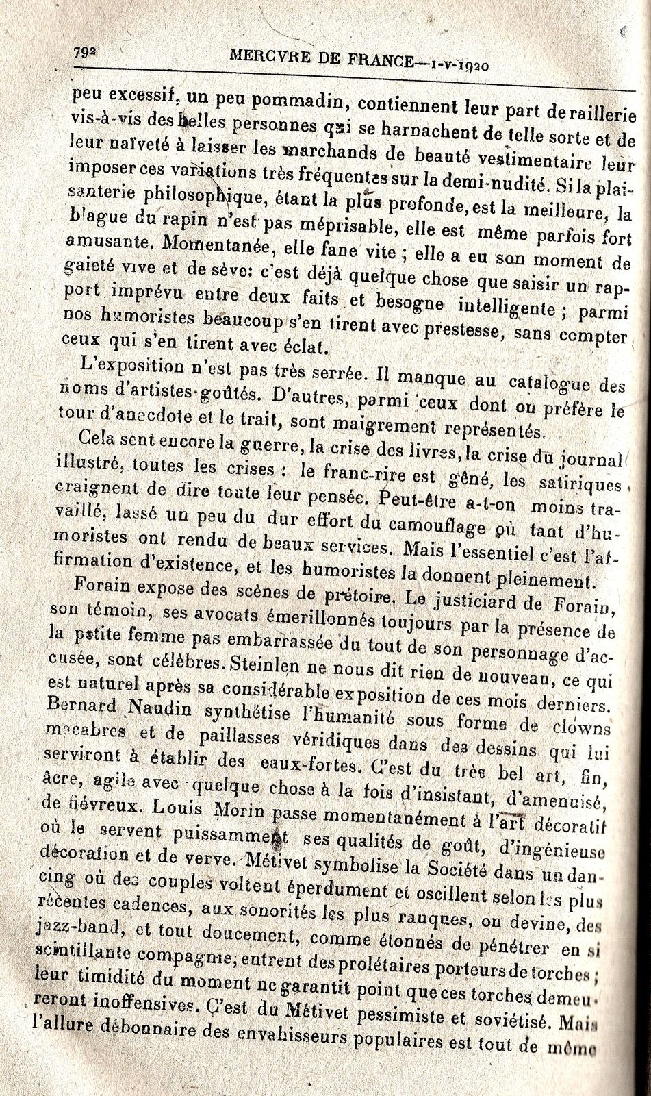 Archive : Le Salon des humoristes, Mercure de France 1er mai 1920