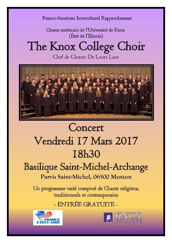 MENTON: ACCUEIL DU KNOX COLLEGE CHOIR UNIVERSITY