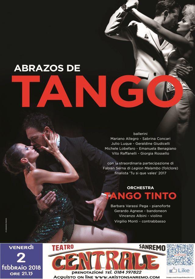 """SANREMO: TEATRO CENTRALE - Tango Argentino """"Abrazos de Tango""""- Venerdì 2 febbraio alle ore 21.15"""