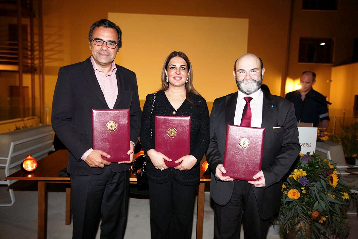 From L to R: Mr. Constantinos Yiorkadjis, Mayor of Nicosia; Ms. Namira Salim, Founder and Executive Chairperson of Space Trust and Mr. George Danos, President of Cyprus Space Exploration Organisation