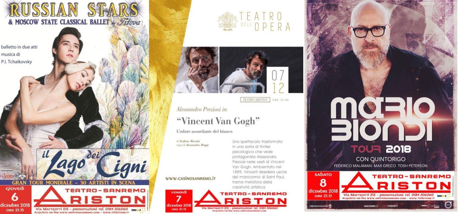 Tre spettacoli al Teatro Ariston in questo fine settimana.