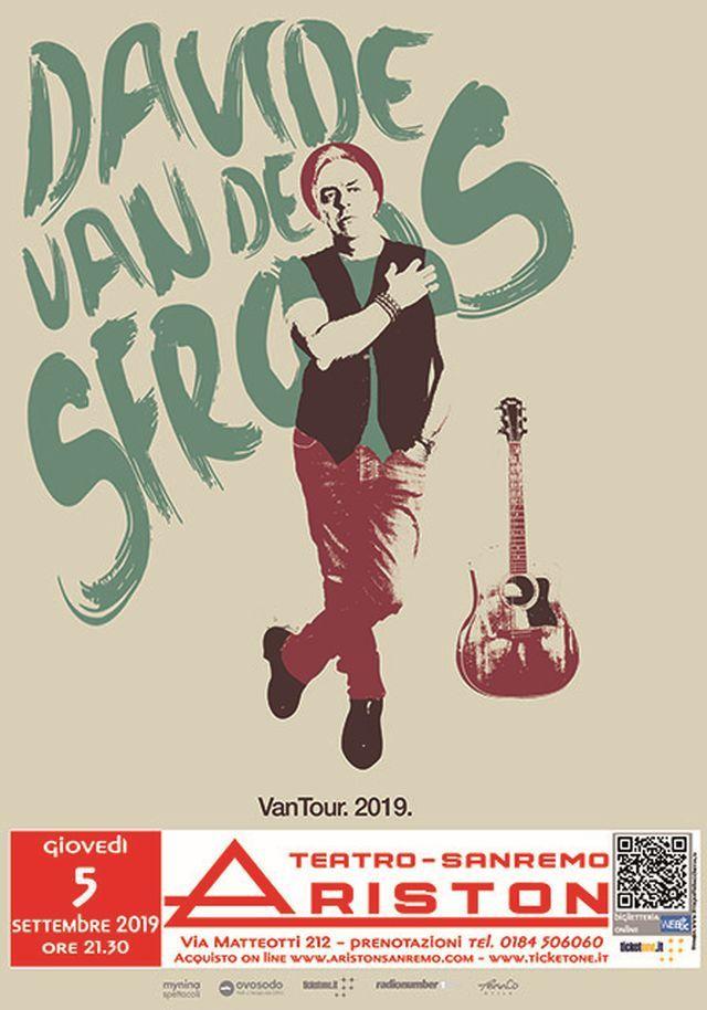 """Ariston Sanremo - Giovedi 5 settembre: Davide Van De Sfroos con il nuovo tour """"Vantour 2019"""""""