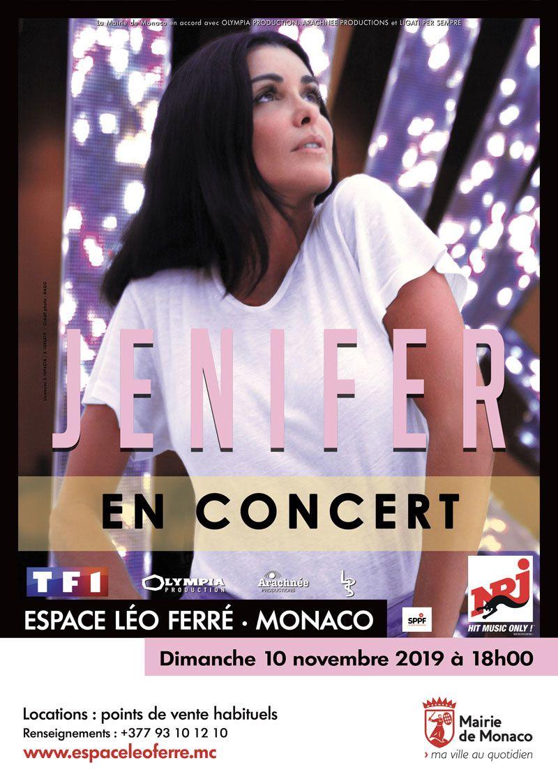 Monaco: JENIFER - Espace Léo Ferré « Une Nouvelle Page 2 Tournées » Dimanche 10 novembre à 18h