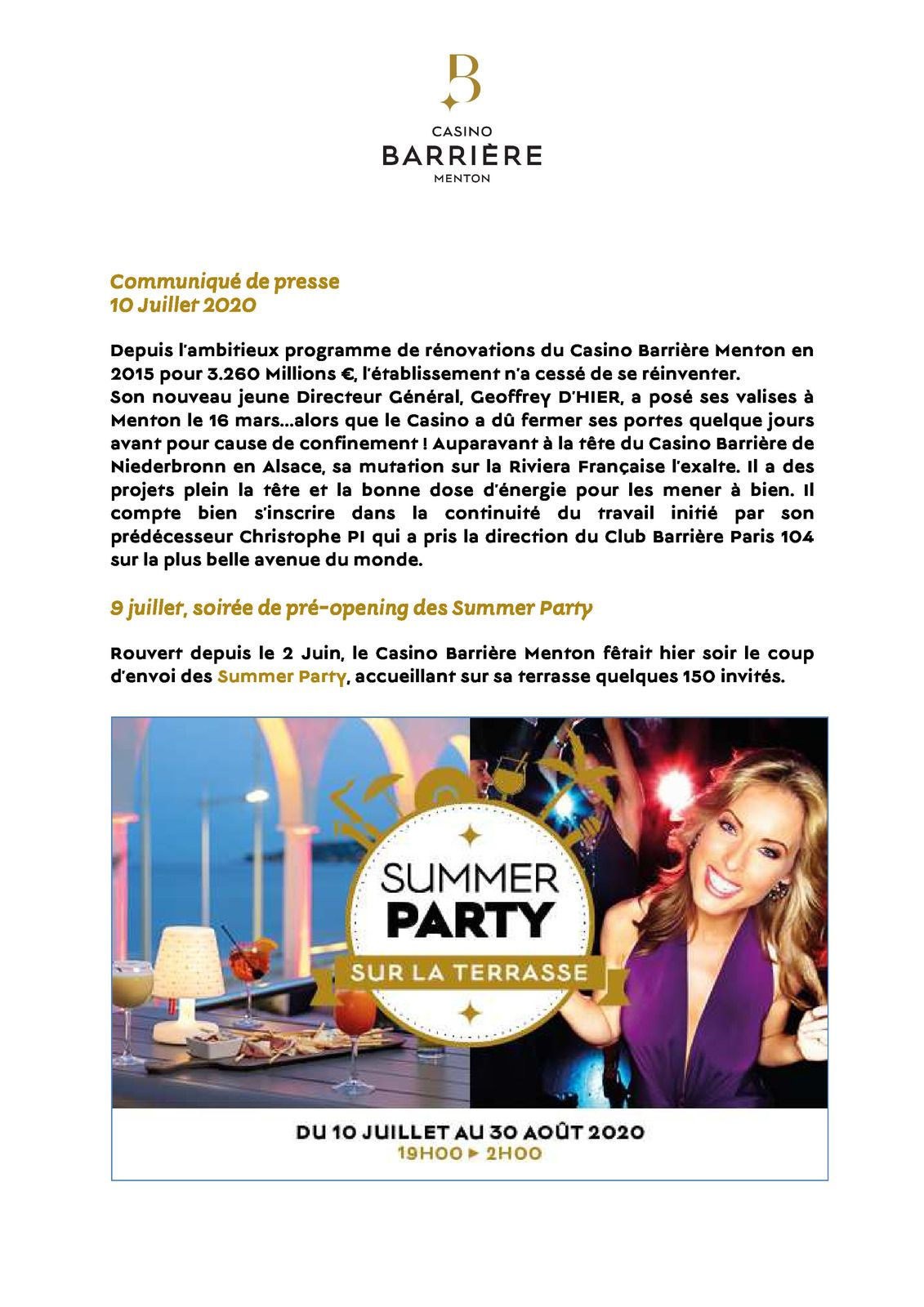 CASINO BARRIERE SUMMER PARTY MENTON DU 9 JUILLET